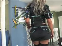 Yummy shemale police Ariel Everitts wanks her rock hard dick