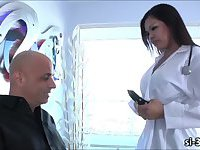 Lusty shemale nurse Carmen Moore lures her stud patient into a hot sex