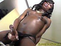 Black slutty tgirl tugging her huge dong