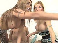 Two Tgirls and naked guy hot trio