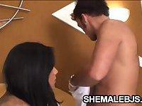 Aline Ganzarolli - Busty Shemale DeepThroating A Hard Cock