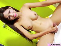 Slender hot Asian TS Nat in a cool solo sex