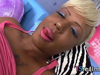 Black Shemale Holly Hung Strokes Her Big Cock