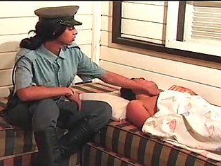 Officer Tgirl pleases a stranger