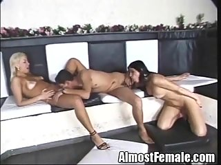 Girlie, guy and shemale threesome act