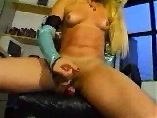 Blonde Tranny Jacks Off