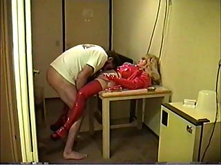 Transvestite In Red Blowjob & Handjob