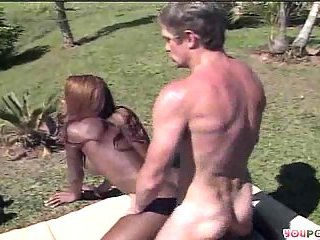 Black shemale whore outdoor penetration