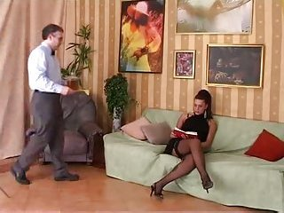 Raunchy Tranny In Stockings Fucking Her Guy