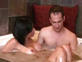 Guy rams busty tranny in the tub