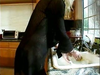 Mature blonde TS got analed