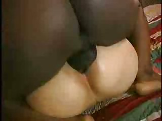 Chubby trannies share on black hung guy