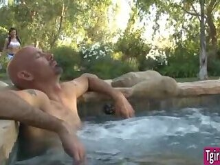 Tgirl cheerleader Eva Lin blown by a guy