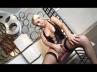 Blonde in stockings gets lavish cumshot