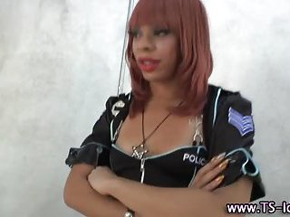 Ebony shemale cop sucked