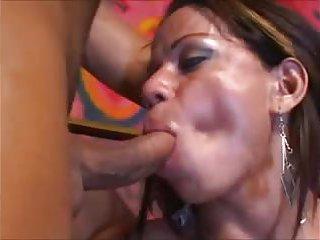 Busty tranny sucks big dick & gets fucked