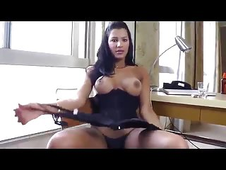 Dark haired dark skinned beauty shows off hot body, strkes to cumshot