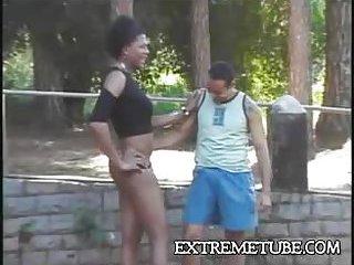 Ebony couple outdoor ramming