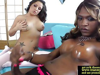 Black shemale wanking her big pole