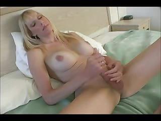 Busty blonde TS masturbating
