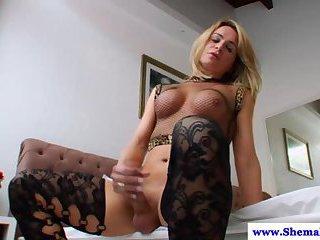 Lingerie tranny fingers her ass