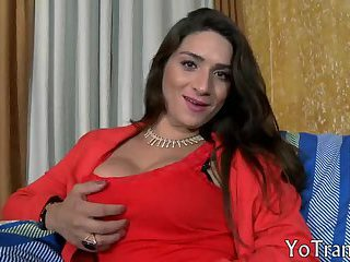 Huge tits brunette tranny Adriana in stockings ass banged