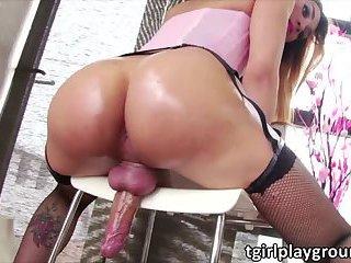 Latina shemale Soraya strokes her shaft until she spurts hot cum