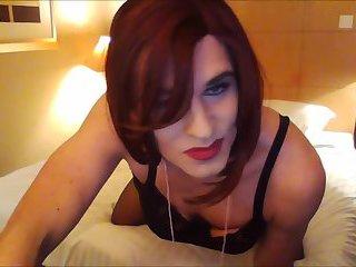 Tranny Hotel Room Hands Free Cum